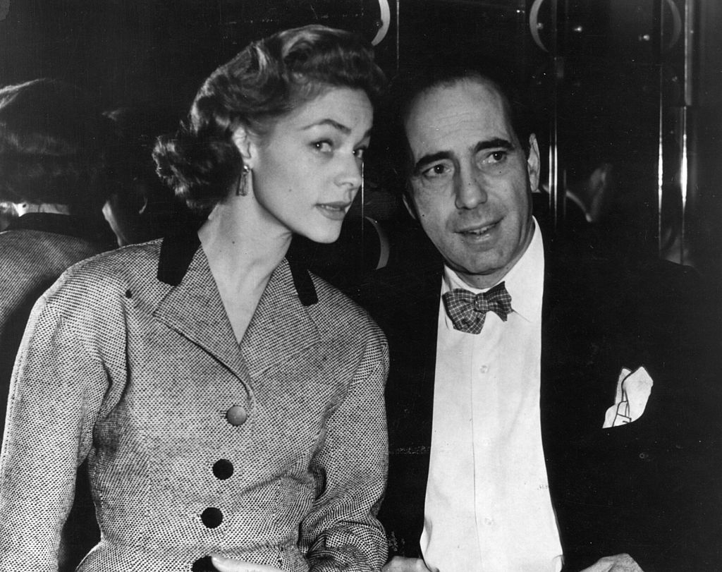 16th April 1951:  Humphrey De Forest Bogart (1899 - 1957), American film actor with his wife Lauren Bacall, originally Betty Joan Perske, an American actress.  (Photo by Victor Drees/Evening Standard/Getty Images)