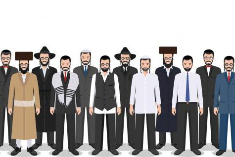 Family and social concept. Group adults jewish men standing together in different traditional clothes in flat style. Israel people. Differences Israelis in the national dress. Vector illustration