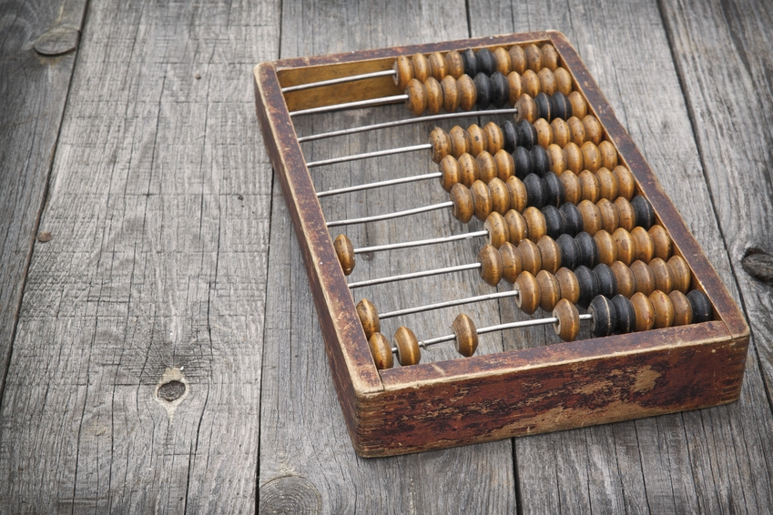 Retro abacus on a wooden table