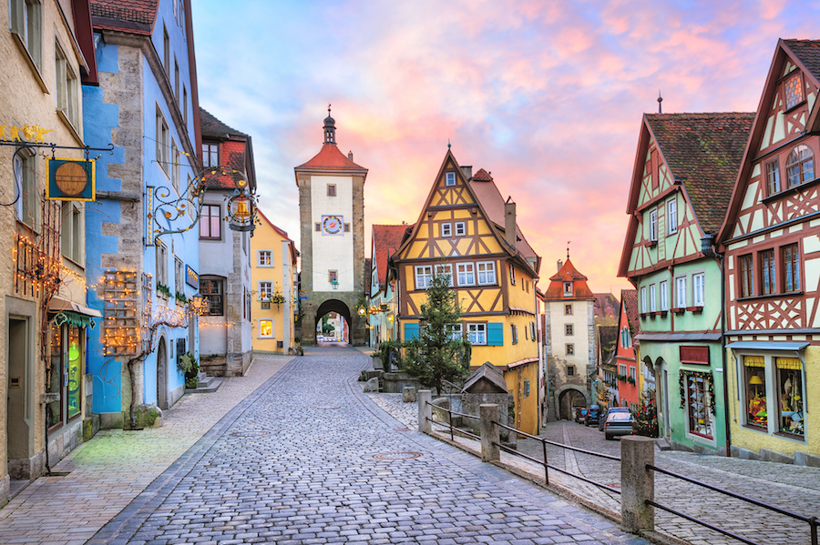 Colorful half-timbered houses in Rothenburg ob der Tauber, Germany